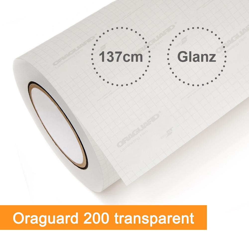 Laminat Orafol Oraguard 200 transparent glänzend - Rollenbreite 137cm - Rollenlänge 50m - SalierShop.de