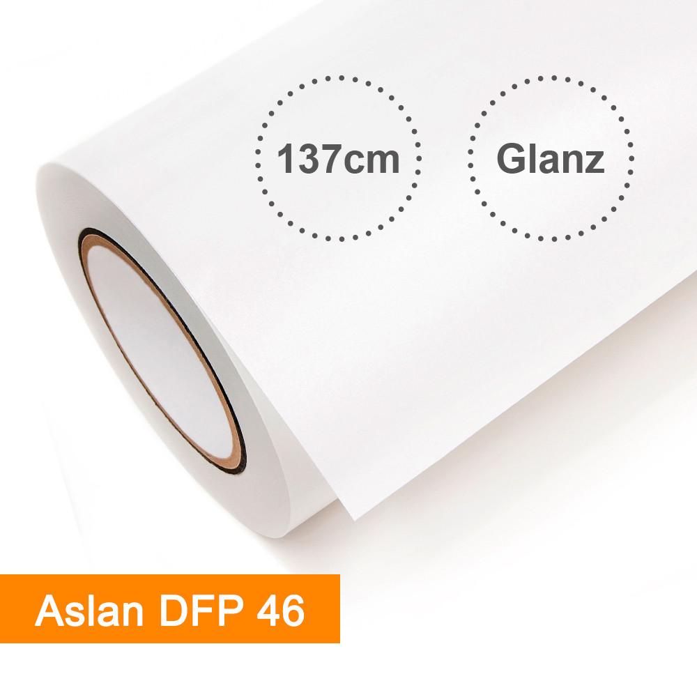 Digitaldruckfolie Aslan DFP 46 weiß glänzend - Rollenbreite 137cm - Rollenlänge 25m - SalierShop.de