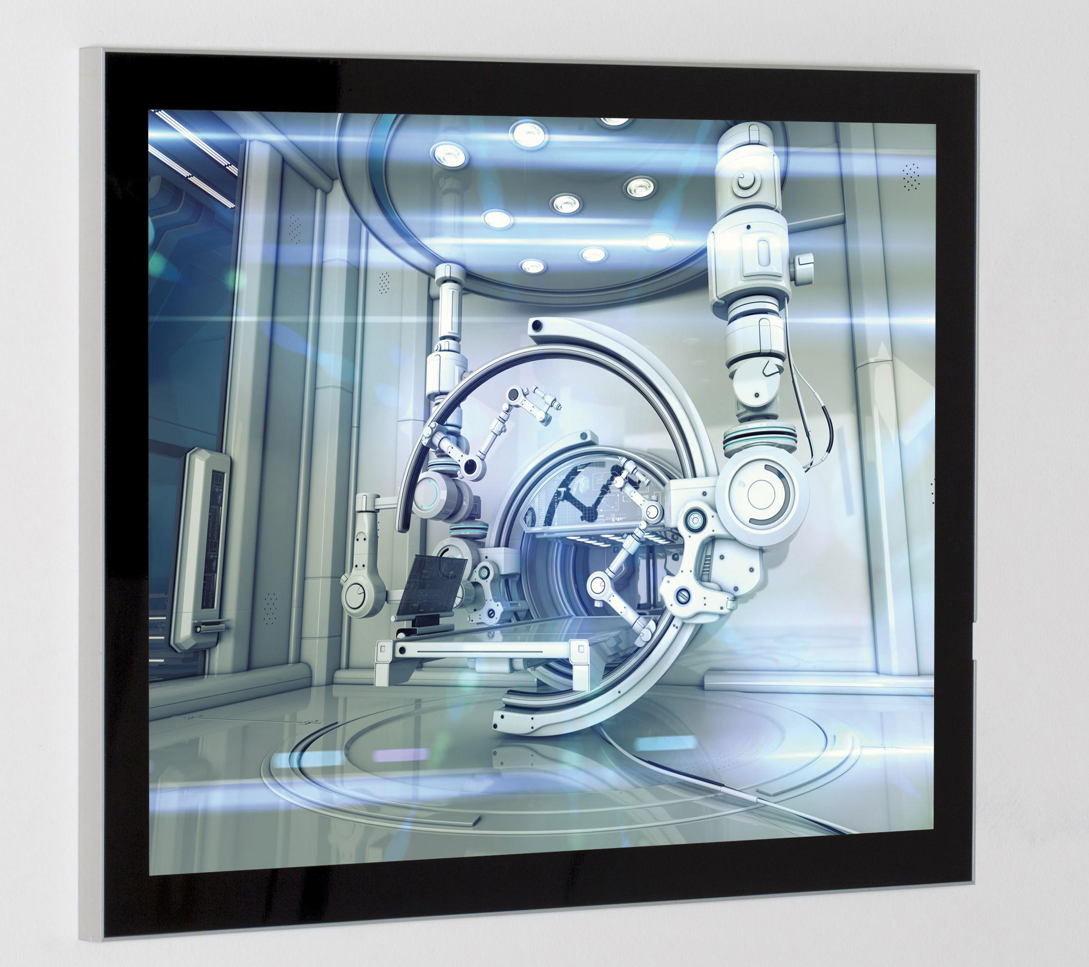 Magnet Posterrahmen silber, einseitig, 12 mm, Gehrung, 700 x 1000 mm, Passepartout RAL 9005 schwarz