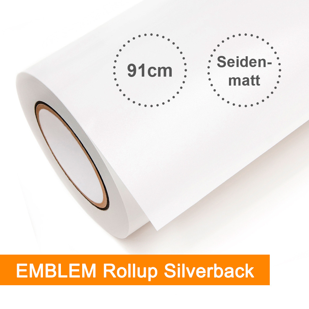 EMBLEM Rollup Silverback SORFSB2 weiß seidenmatt - Rollenbreite 91,4cm - Rollenlänge 30m - SalierShop.de