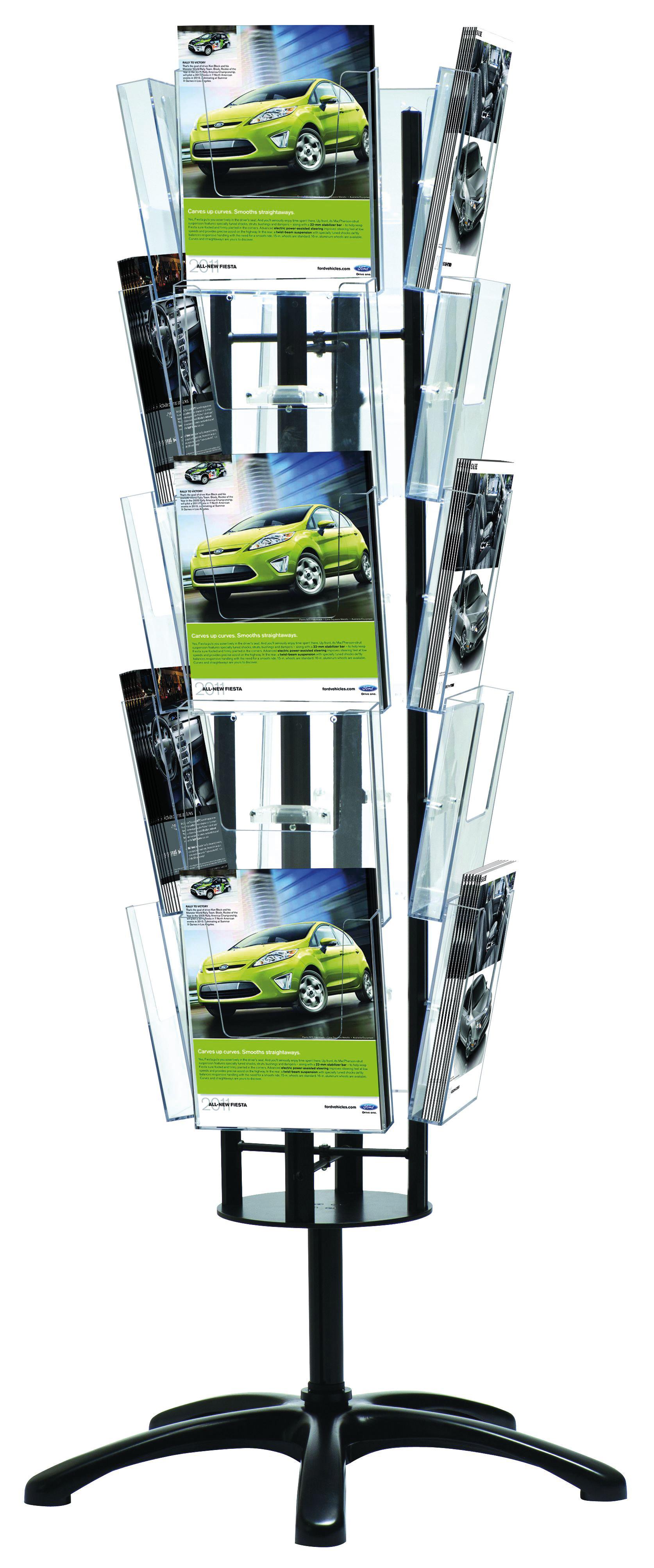 Boden-Prospektständer Multiside, drehbar, schwarz, 20 x DIN A4