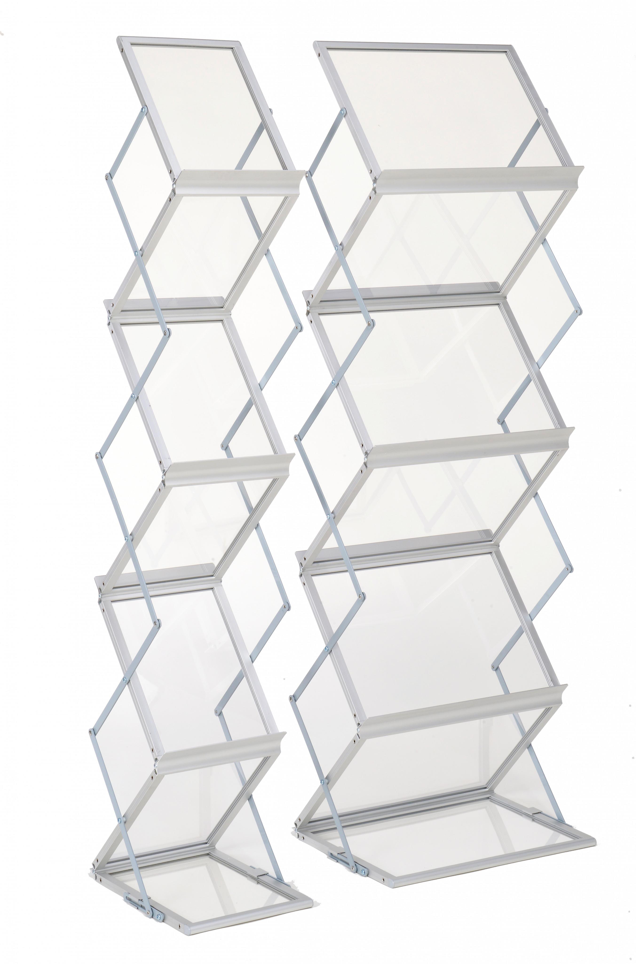 Falt-Prospektständer, Acryl, schwarz eloxiert, 6 x DIN A3