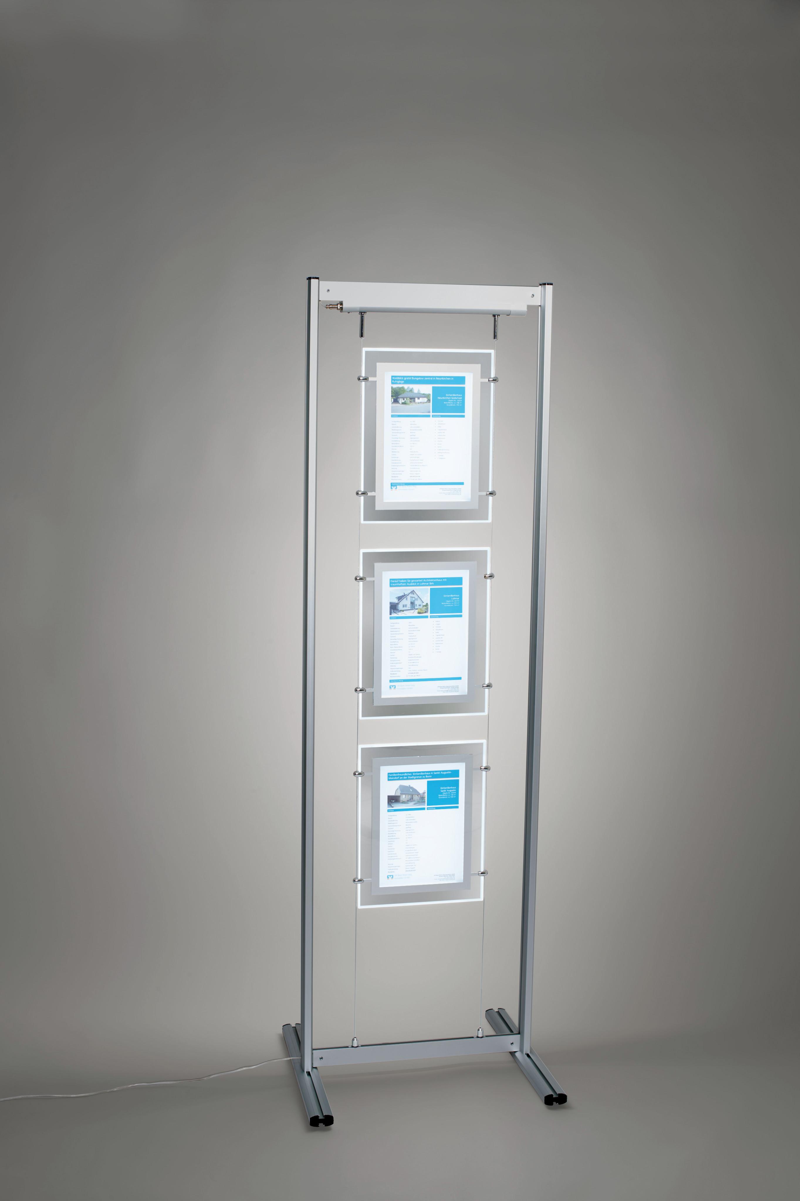 AcryLED Leuchtrahmen, doppelseitig, 8x DIN A4 Hochformat, Deckenabhängung