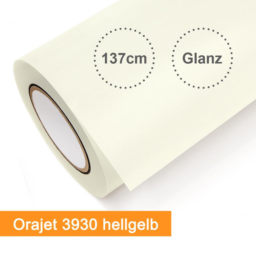 Digitaldruckfolie Orafol Orajet 3930 hellgelb glänzend - Rollenbreite 137cm - Rollenlänge 25m - SalierShop.de